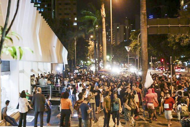 Protesto em frente ao Palácio das Artes, centro de BH, contra a censura - Créditos: Mídia Ninja