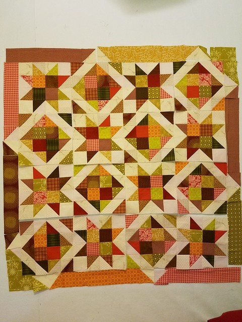 Laying out the Border! Using up my extra pieces!