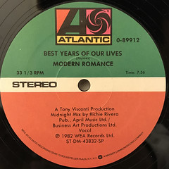 MODERN ROMANCE:BEST YEARS OF OUR LIVES(LABEL SIDE-A)