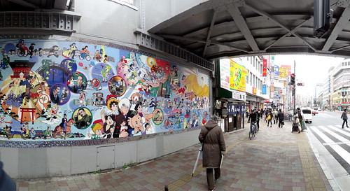 Tezuka Productions mural in Takadanobaba, Tokyo. From Love Tokyo's Otaku Culture? Read this.