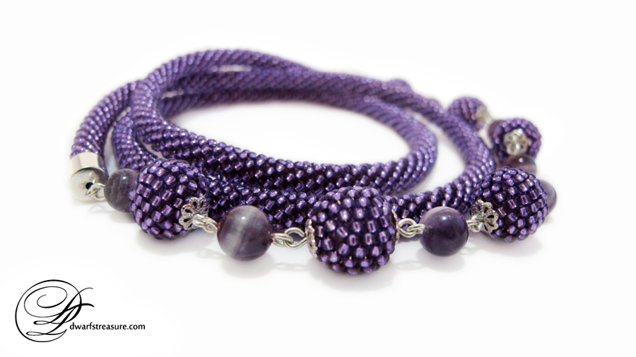 amazing ultraviolet beaded crochet long necklace with purple beaded balls and real amethyst beads