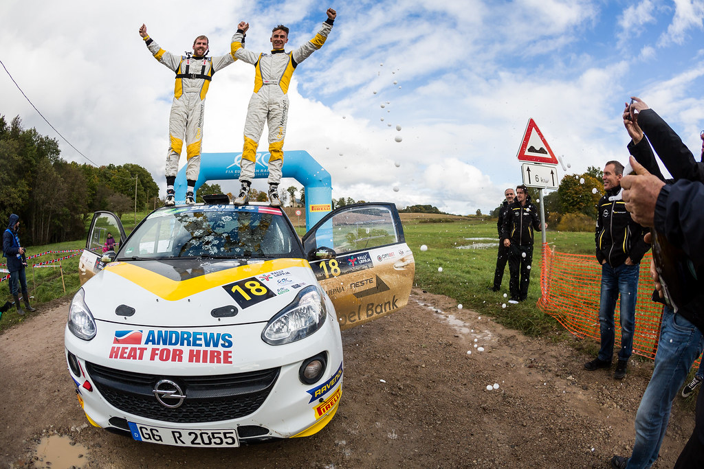 Ingram Chris and Whittock Ross, Opel Rallye Junior Team, Opel Adam R2 ERC Junior U27 ambiance portrait during the 2017 European Rally Championship ERC Liepaja rally,  from october 6 to 8, at Liepaja, Lettonie - Photo Thomas Fenetre / DPPI