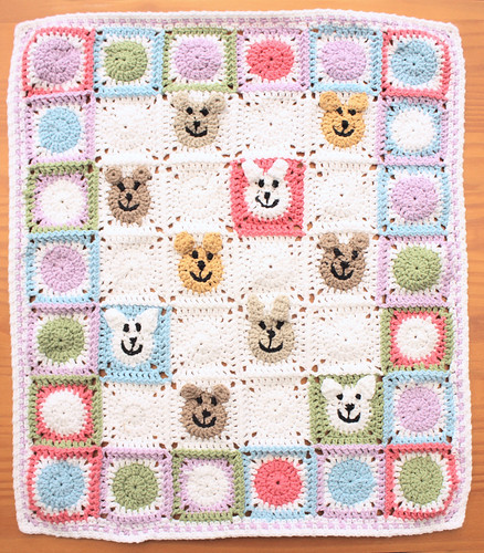 Animal face doll blanket