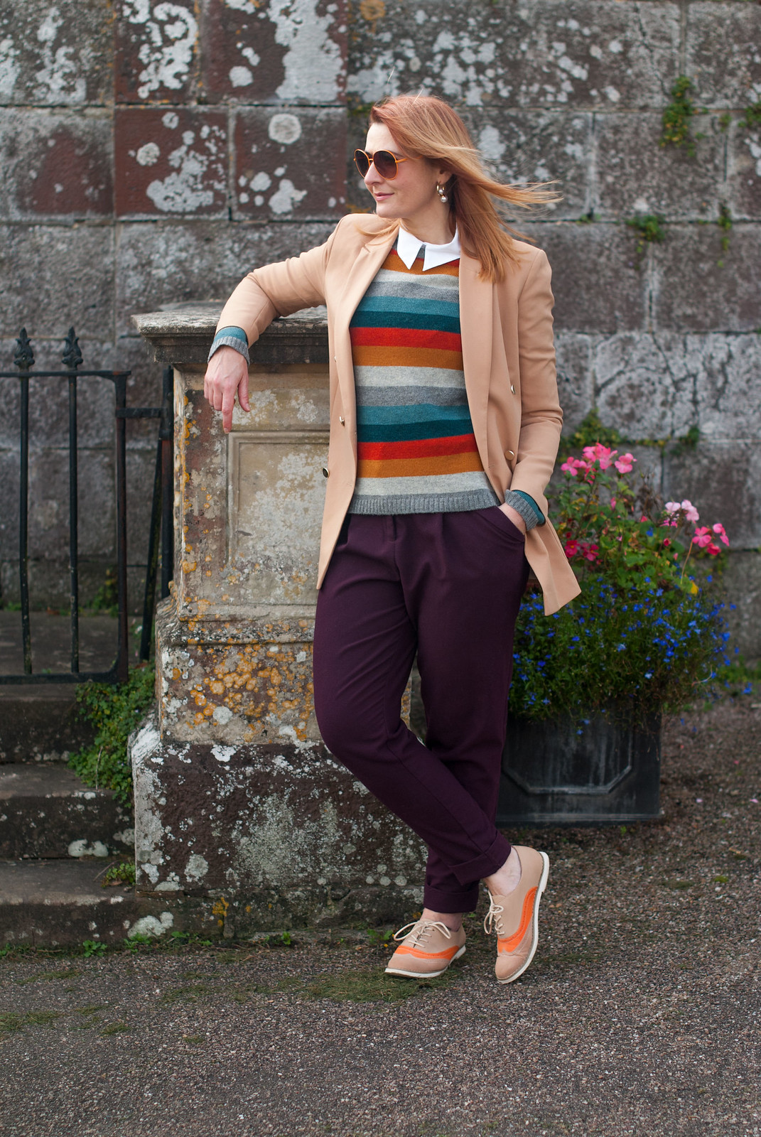 Preppy Style in the Autumn: Double breasted camel blazer striped Seasalt sweater white button down shirt aubergine peg trousers pants two tone brogues orange vintage sunglasses | Not Dressed As Lamb, Over 40 Style