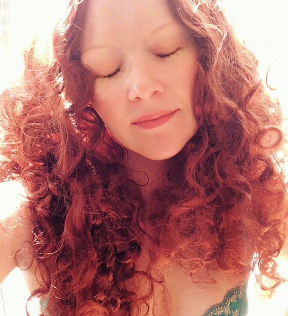 "Day 5: I wore this long red curly wig for my Lucy costume--as played by Sadie Frost in ""Bram Stoker's Dracula"". 🔥🔥🔥"
