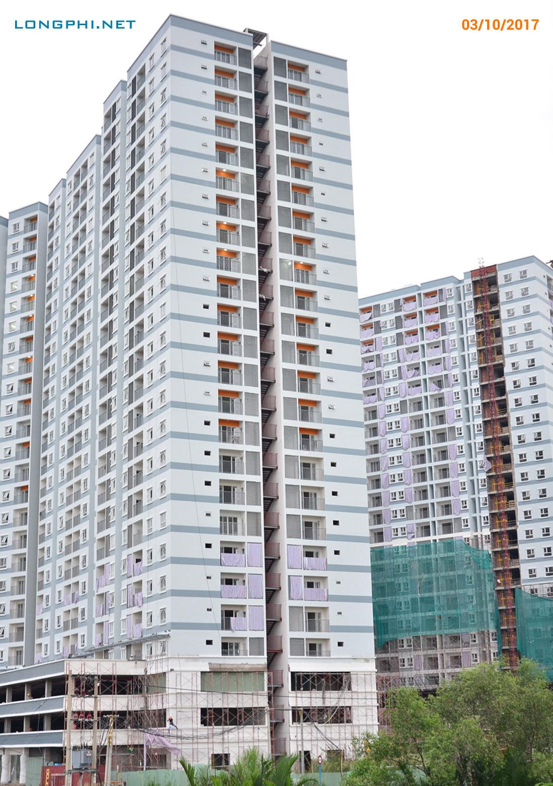 Mặt bên của tháp Nam M2 Jamona Apartment nhìn từ Đào Trí.
