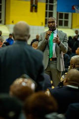 New York City Mayor Bill de Blasio co-hosted a town hall with James Sanders Jr for constituents from City Council district 28 on Monday, October 16, 2017. Benjamin Kanter/Mayoral Photo Office.