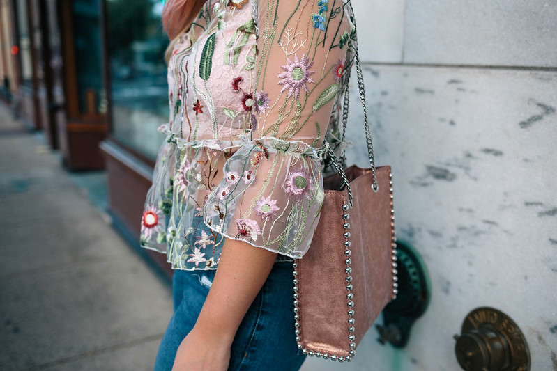ASOS Embroidered Sheer Ruffle Peplum Top Zara Pink Metallic Studded Bag Details