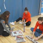 basketball girls making a paper tower (Oct 18, 2017)