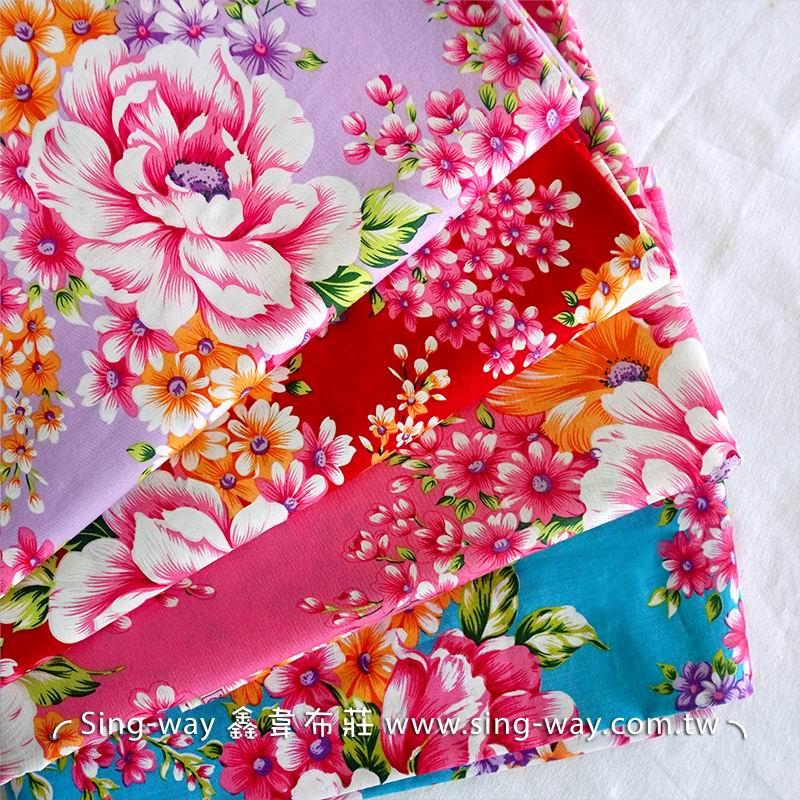 牡丹花圖 復古懷舊花卉 客家花布 台灣花布 精梳棉床品床單布料 節慶佈置 紅包袋 CA490213