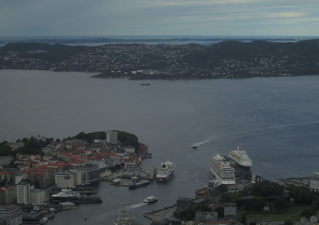 View of ships at Bergen