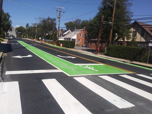 Green painted bike box at the intersection with Wayne Avenue, Cedar Street cycletrack, Silver Spring