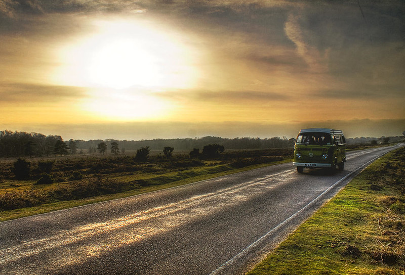 Camper Van on a road through the New Forest. Credit Steve Wilson, flickr