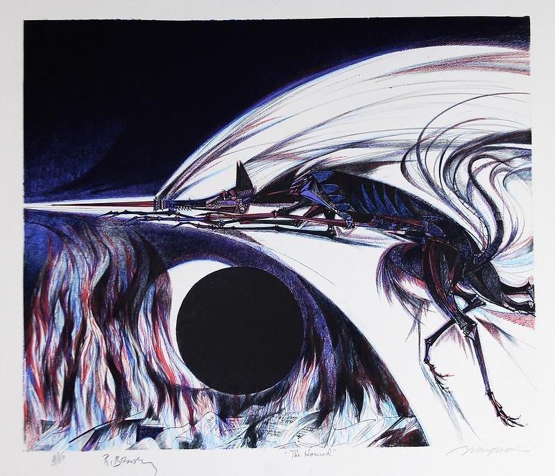 "Joseph Mugnaini - The Hound- from the  portfolio ""Ten Views of the Moon"", authored by Ray  Bradbury. 1981"