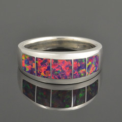 Lab Opal Band in Sterling Silver W106b cropped 1