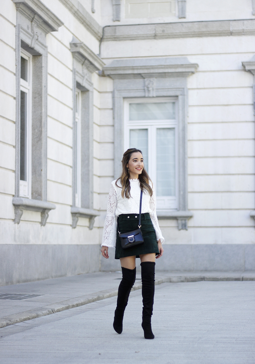 green suede skirt white lace blouse over the knee black boots givenchy bag outfit fashion10