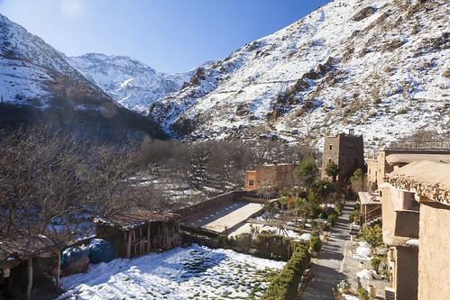 kasbah toubkal kasbahdutoubkal morocco marokko mountains atlas snow ice trees walnut walnuttree village mountain mountainside tree sky landscape landschaft africa scenic beauty outdoors canon canon5d eos jebel jebl jebeltoubkal imlil
