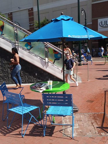 Movable chairs (with tables affixed) have been added to Ellsworth Avenue in Downtown Silver Spring