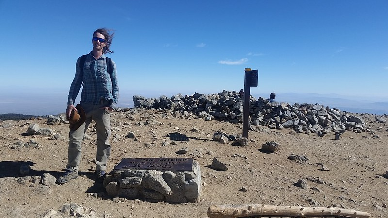 On the summit of Mount San Antonio, aka Mount Baldy, elevation 10064 feet
