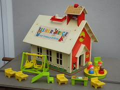 Vintage Fisher Price Play Family School House Retro Toy