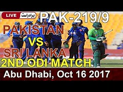 pakistan vs srilanka live (D/N)2nd ODI | Abu Dhabi |Live Updates |match Highlights | 16 oct 2017