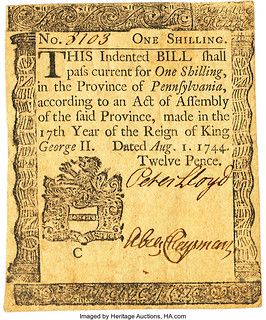Pennsylvania August 1, 1744 1 Shilling front