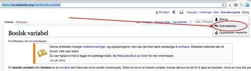 Norsk Wikipedia - Boolsk variabel - Oversettelser