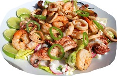 GRILLED SEAFOOD SALAD – BABY OCTOPUS, SQUID AND SHRIMP ON ROMAINE IN HONEY/LIME YOGURT DRESSING