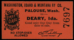 Washington, Idaho & Montana Railway, Destination Deary, Idaho - Palouse, Washington
