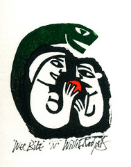 Linocut, Wee Bite, by Willie Rodger