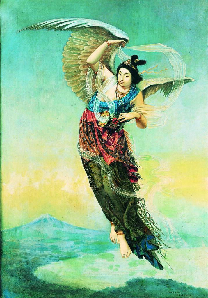 本多錦吉郎《羽衣天女》(1890年、兵庫県立美術館)