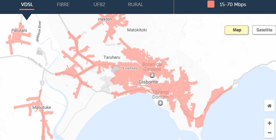 Auf der Karte von Chorus sieht man wo in Neuseeland schnelles Internet zur Verfügung steht