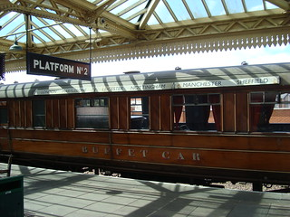 L.N.E.R. buffet car in the platform at Loughborough on the Great Central Railway