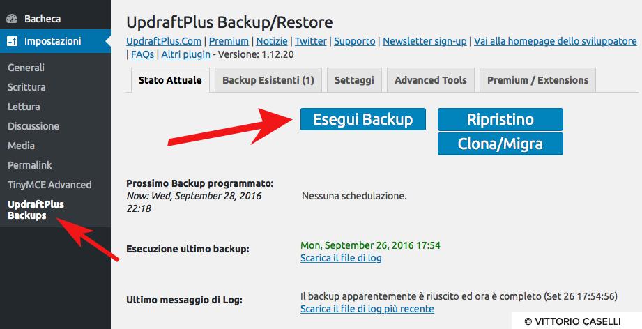 Come fare un backup wordpress 2