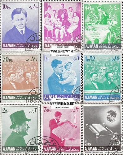 Známky Ajman 1967 John Kennedy, razítkovaná séria