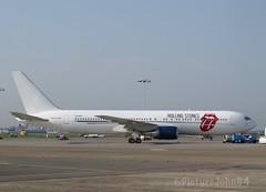 """2nd visit of Rolling Stones VIP Jet Aeronexus Boeing 767 (ZS-NEX) """"No Filter Tour"""" at Schiphol East"""