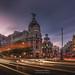 Gran Via Street in Madrid, Spain, after sunset by Daniel Viñe fotografia