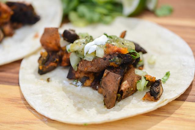 Sweet Potato, Mushroom, and Roasted Poblano Tacos