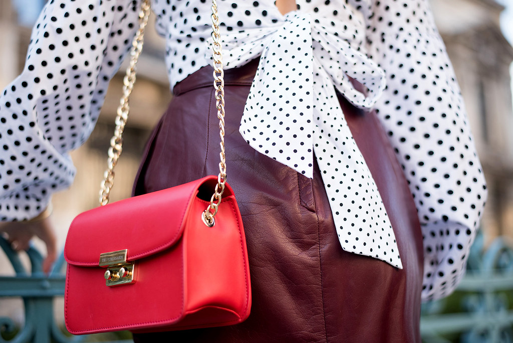 polka dots and leather skirt 2a