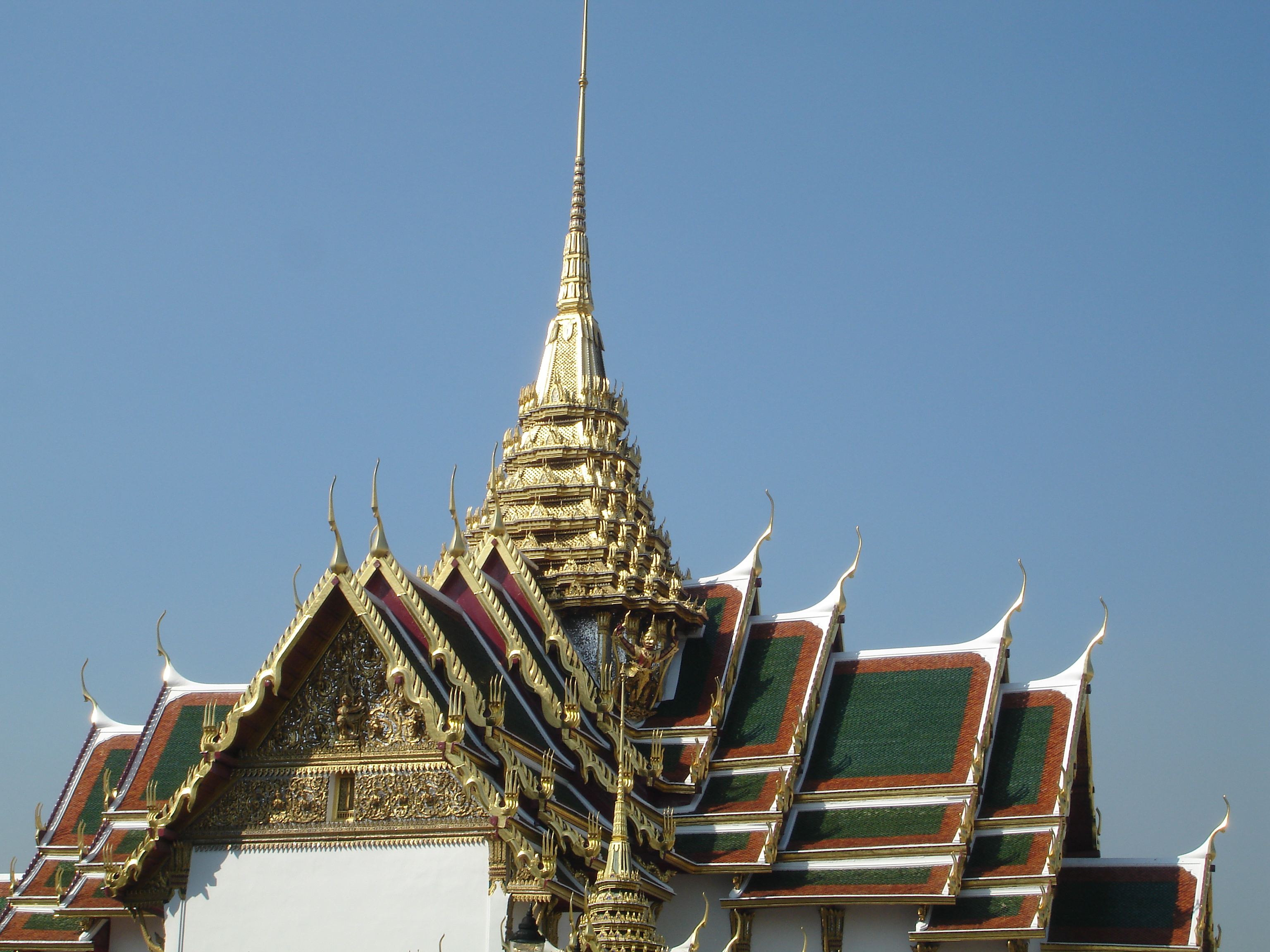 Roof of Phra Thinang Dusit Maha Prasat, location of the body of His Majesty the late King Bhumibol Adulyadej from October 14, 2016, until October 26, 2017, at the Grand Palace in Bangkok. Photo taken by Mark Jochim on May 17, 2006.