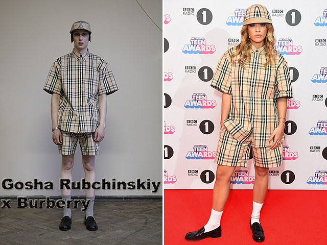 Gosha-Rubchinskiy-x-Burberry, Gosha Rubchinskiy x Burberry, Radio One Teen Choice Award, Rita Ora, Burberry cap, cao, baseball cap, baggy shorts, boy shorts, Burberry, Burberry shorts, Burberry boy shorts, Burberry oversized shirt, androgynous look, Rita Ora in Gosha Rubchinskiy x Burberry