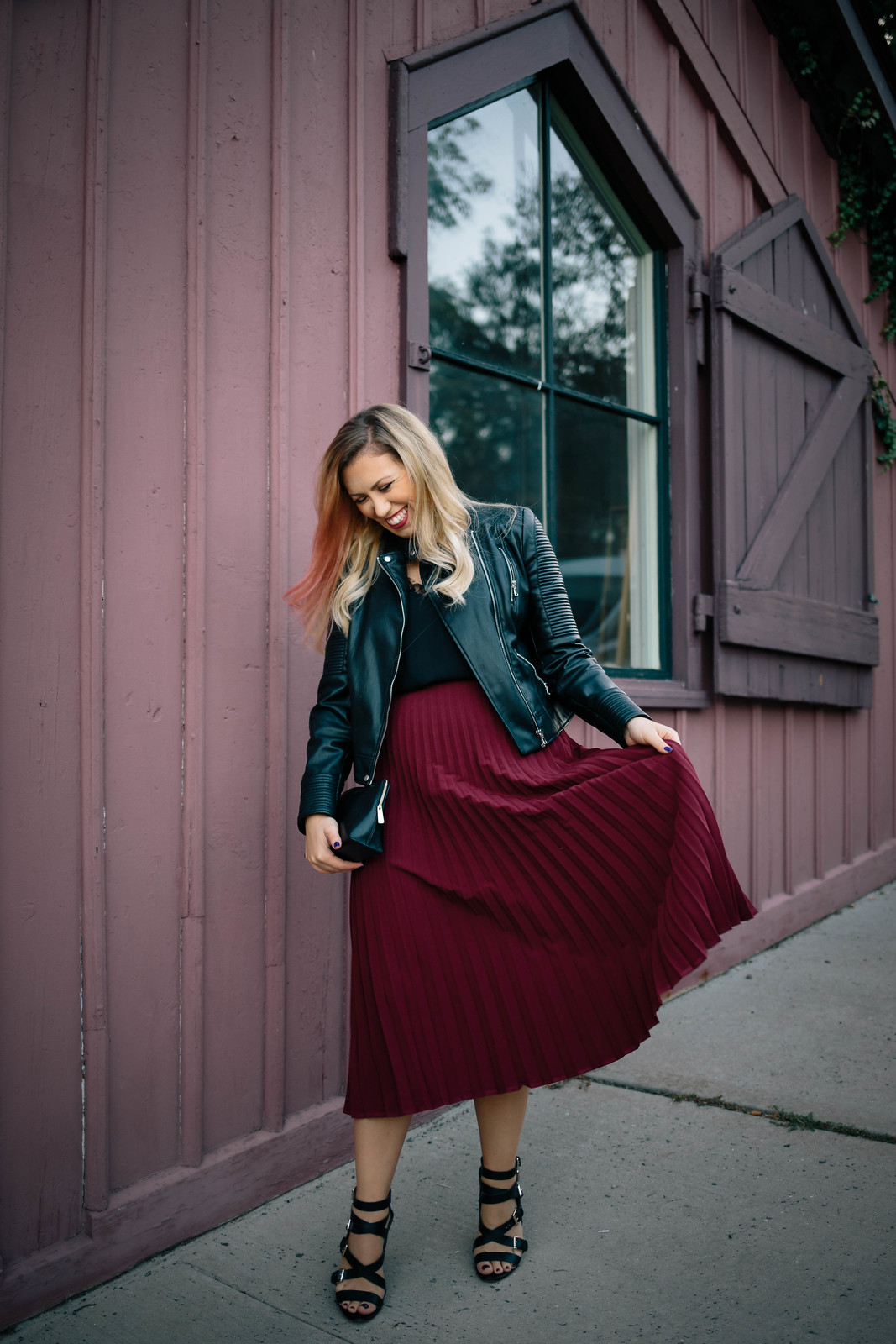 Funny Fall Fashion Blogger Blooper Laughing Pleated Midi Skirt Black Moto Jacket