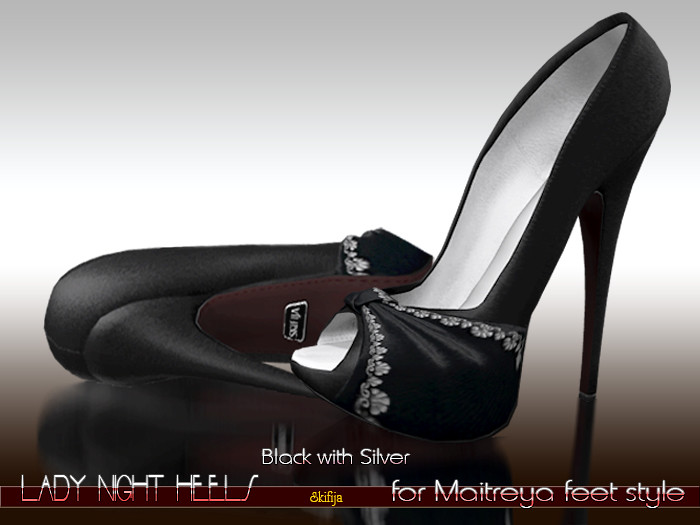 -SKIFIJA-Lady Night(Black with Silver) heels for Maitreya style - TeleportHub.com Live!