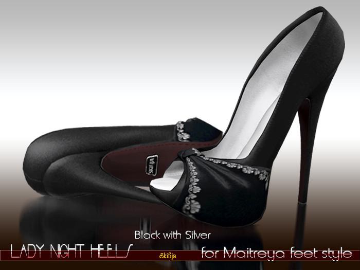 -SKIFIJA-Lady Night(Black with Silver) heels for Maitreya style