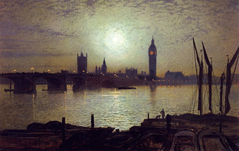 Westminster Bridge by Moonlight by John Atkinson Grimshaw, 1880