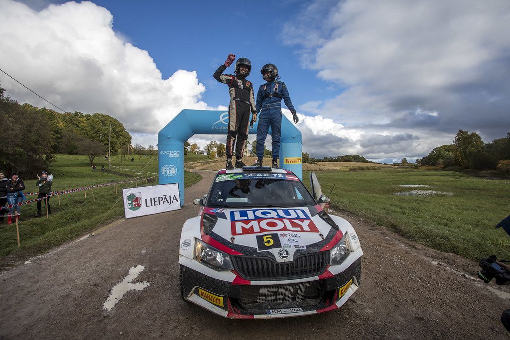 Gryazin Nikolay and Fedorov Yaroslav, Sports Racing Technologies, Skoda Fabia R5 ERC Junior U28 ambiance portrait during the 2017 European Rally Championship ERC Liepaja rally,  from october 6 to 8, at Liepaja, Lettonie - Photo Gregory Lenormand / DPPI