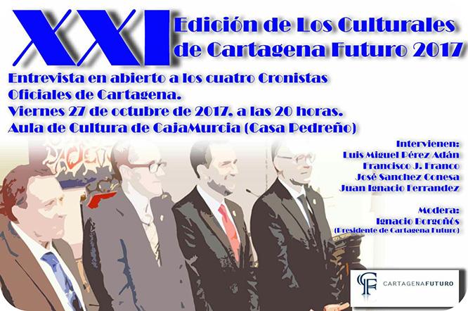 Los cuatro cronistas oficiales de Cartagena participan en una entrevista abierta