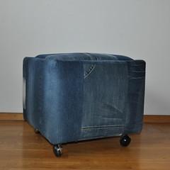 Denim collection; Reloved vintage banquette/pouf; Blue denim pouf