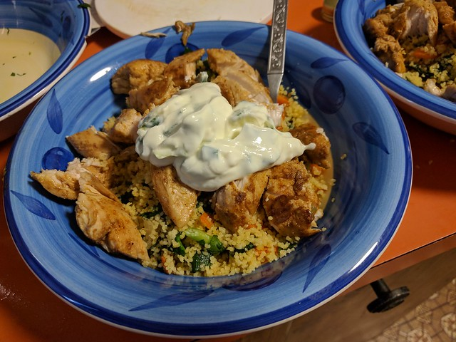 Chicken cous cous with preserved lemon