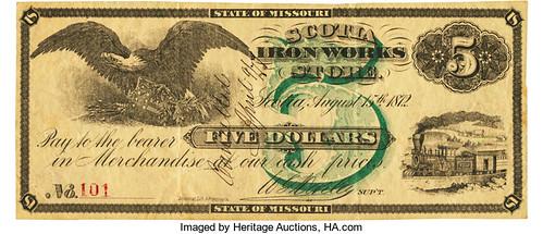 1872 Scotia Iron Works Store $5
